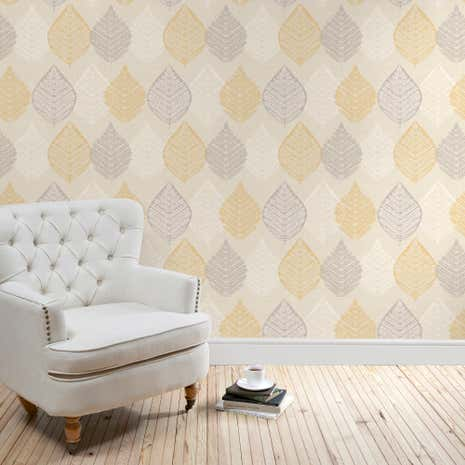 Ochre Leaf Motif Wallpaper