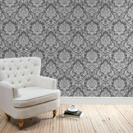Charcoal Vienna Damask Wallpaper