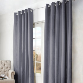 Arizona Grey Blackout Eyelet Curtains