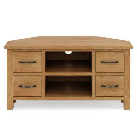 Sidmouth Oak Corner TV Stand. Loz_20_percent_off_ws15;  Loz_exclusive_to_dunelm
