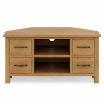 Sidmouth Oak Corner TV Unit With Drawers