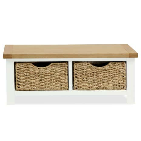Wilby Cream Small Bench With Baskets