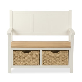 Wilby Cream Monks Bench With Baskets
