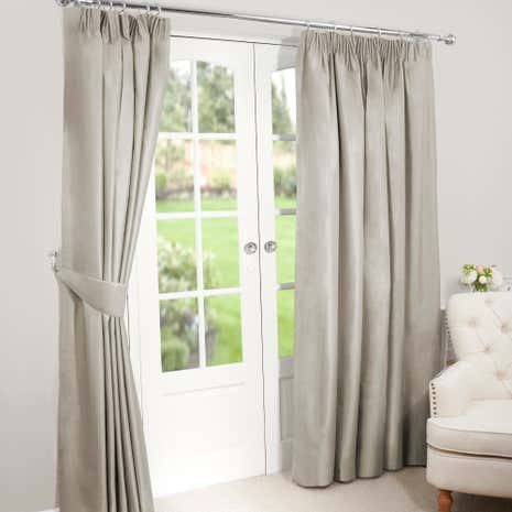 Nova Biscuit Blackout Pencil Pleat Curtains