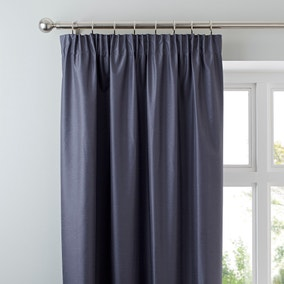 Nova Charcoal Blackout Pencil Pleat Curtains
