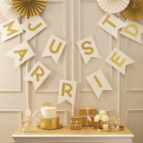 Metallic Just Married Bunting