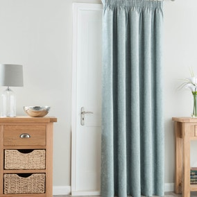 Chenille Duck Egg Thermal Pencil Pleat Door Curtain
