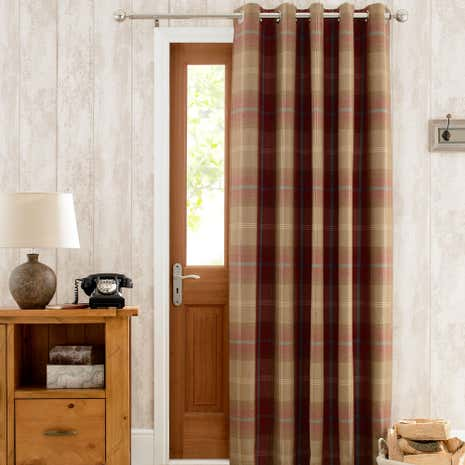 Highland Check Wine Lined Eyelet Door Curtain