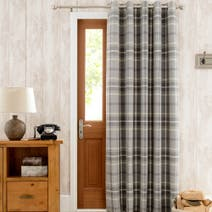 Highland Check Grey Lined Eyelet Door Curtain