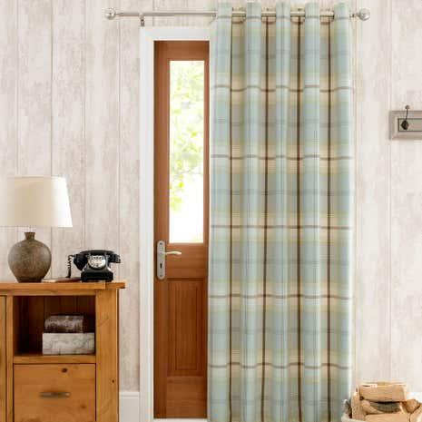 Highland Check Duck-Egg Thermal Eyelet Door Curtain & Door Curtains | Thermal \u0026 Blackout Door Curtains | Dunelm Pezcame.Com