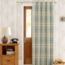 Highland Check Duck-Egg Lined Eyelet Door Curtain