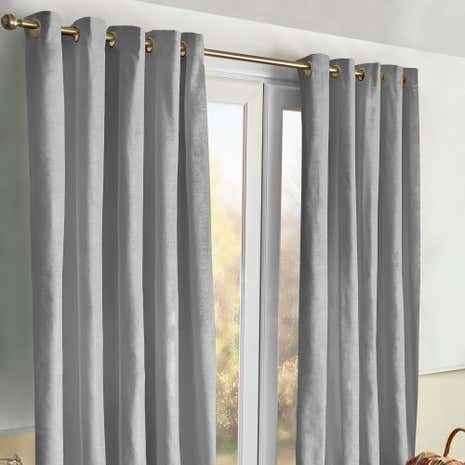 Meribel Grey Thermal Eyelet Curtains