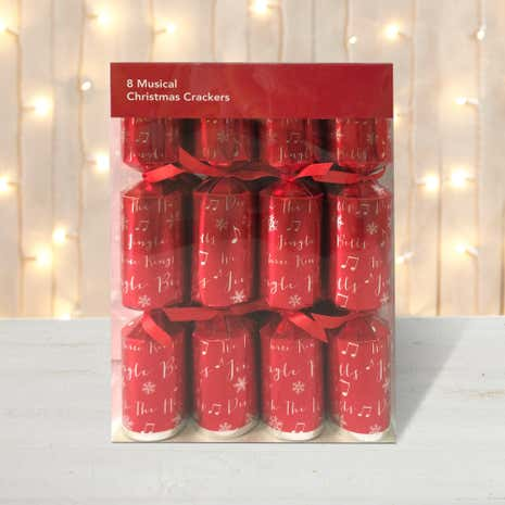 Pack of 8 Musical Tune Red Cracker Decorations