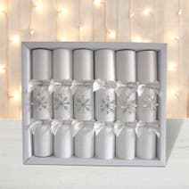 Pack of 6 Deluxe Silver Cracker Decorations
