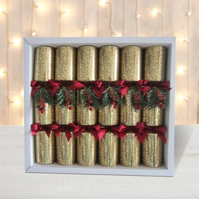 Pack of 6 Deluxe Gold Cracker Decorations