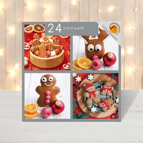 Pack of 24 Novelty Gingerbread Christmas Cards