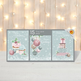 Pack of 15 Cakes, Baubles and Presents Christmas Cards
