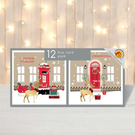 Pack of 12 Postbox and Door Christmas Cards