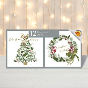 Pack of 12 Traditional Tree and Wreath Christmas Cards