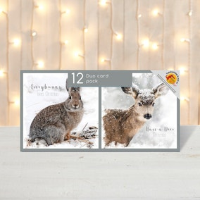 Pack of 12 Snowy Animals Christmas Cards
