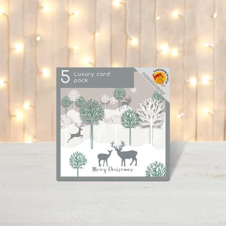 Pack of 5 Silhouette Cut Out Scene Christmas Cards