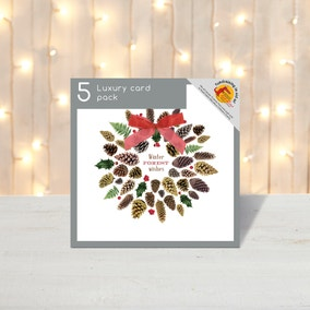 Pack of 5 Fur Cone Wreath Christmas Cards