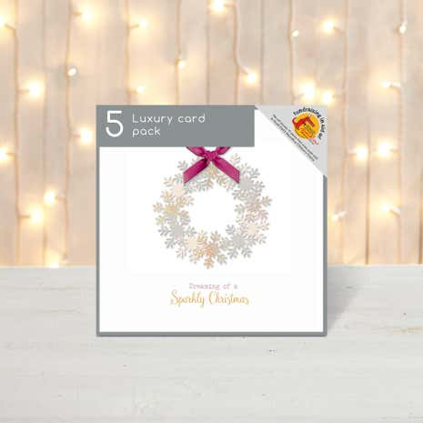 Pack of 5 Snowflake Wreath Luxury Christmas Cards