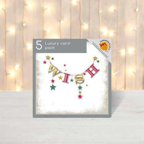 Pack of 5 Bunting Wish Christmas Cards