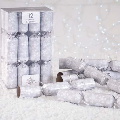 Pack of 12 Silver Snowflake Premium Christmas Crackers