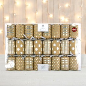Pack of 8 Silver Foil Luxury Christmas Crackers