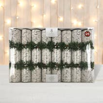 Pack of 8 Silver Frosty Birch Luxury Christmas Crackers