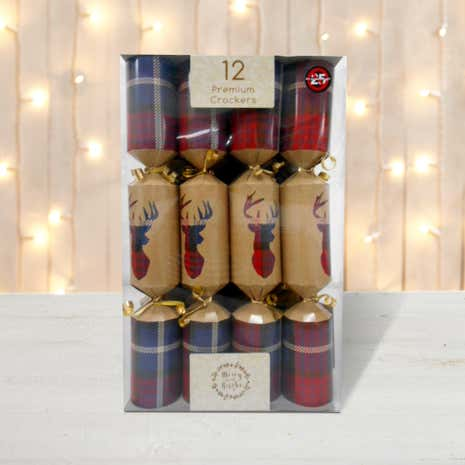 Pack of 12 Red Tartan Stag Premium Christmas Crackers