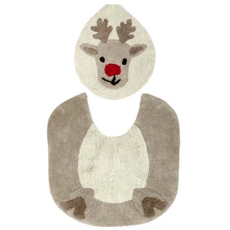 Reindeer Toilet Seat Cover and Mat Set