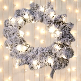 Prelit Frosted Wreath
