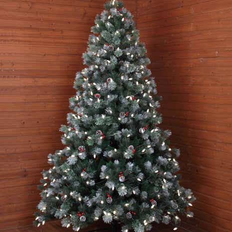 7ft Pre-lit Premium Berry and Cone Christmas Tree