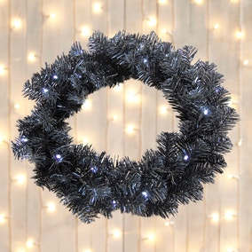 Black Light-Up Wreath