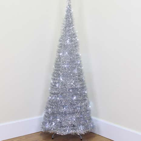 6ft Silver Pop-up Christmas Tree
