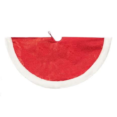 1m Red Glitter Tree Skirt with Fur Trim