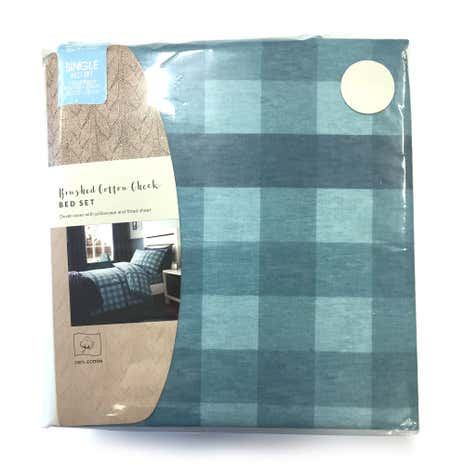 Kids Brushed Cotton Check Single Duvet Cover Set with Fitted Sheet