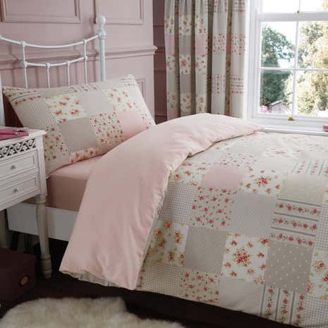Katy Pink Patchwork Duvet Cover and Pillowcase Set