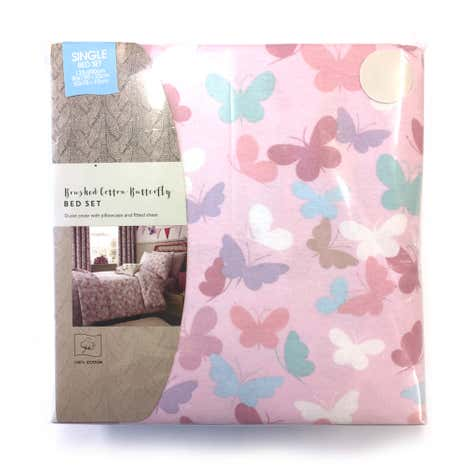 Kids Brushed Cotton Maisie Single Duvet Cover Set with Fitted Sheet