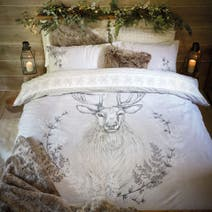 Stag Head Natural Duvet Cover Set
