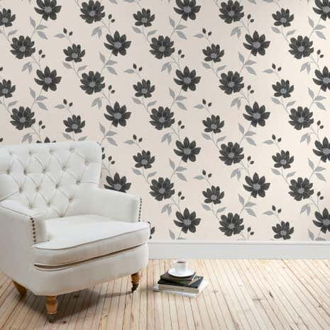 Grey Adeline Floral Wallpaper
