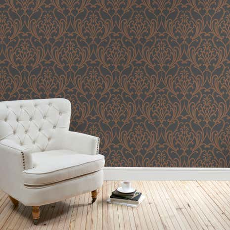 Black Scroll Damask Wallpaper