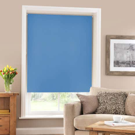 Medium Blue Blackout Roller Blind