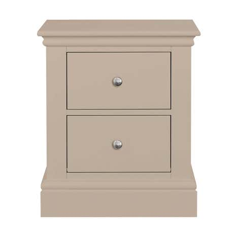 Blakely Taupe 2 Drawer Bedside Table