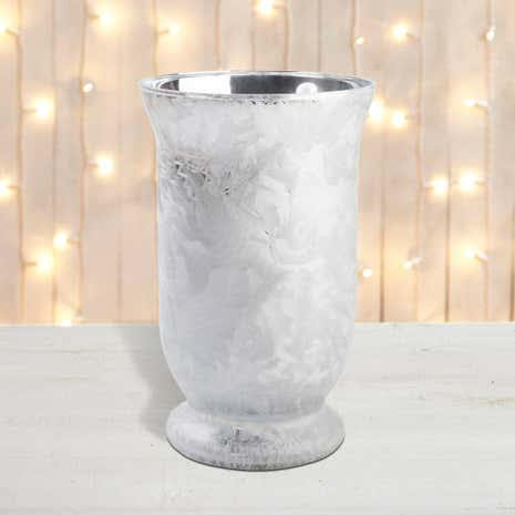 Ice-Effect Silver Hurricane Candle Holder