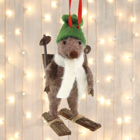 Wool Mouse On Snow Shoes Tree Decoration