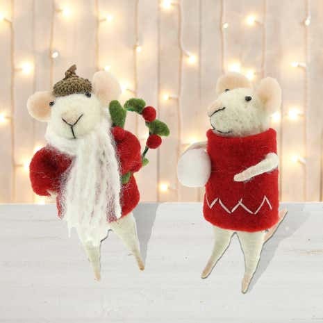 Set of 4 Wool Mice Tree Decorations