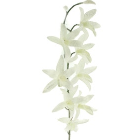 Artificial White Glitter Cymbidium Spray